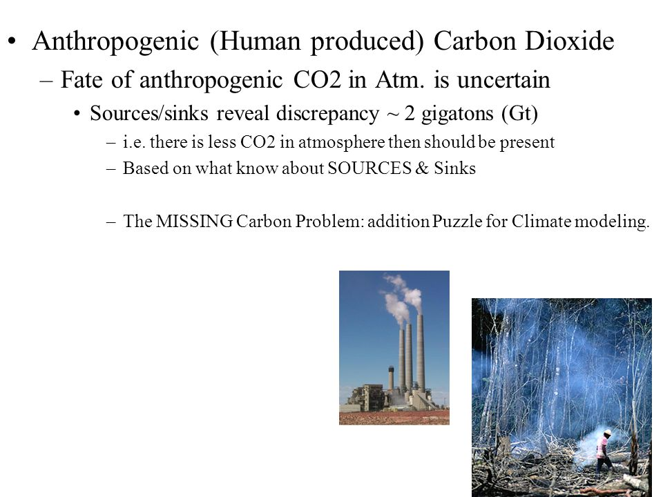 Anthropogenic (Human produced) Carbon Dioxide –Fate of anthropogenic CO2 in Atm.