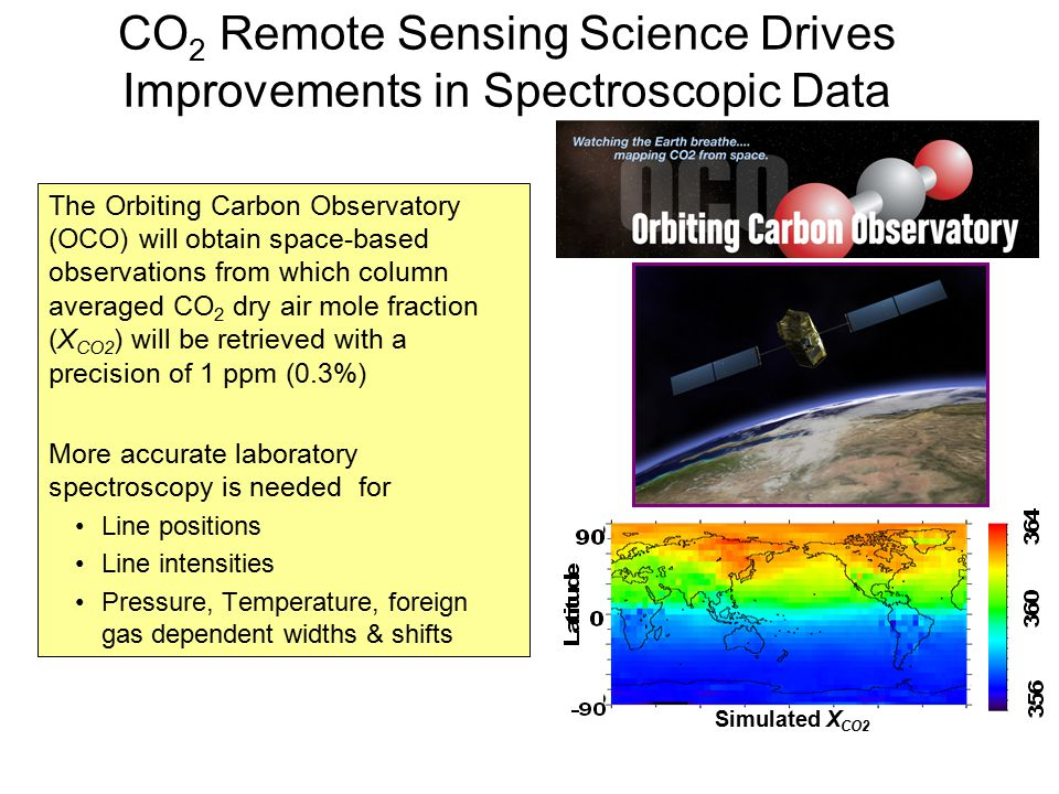 CO 2 Remote Sensing Science Drives Improvements in Spectroscopic Data The Orbiting Carbon Observatory (OCO) will obtain space-based observations from