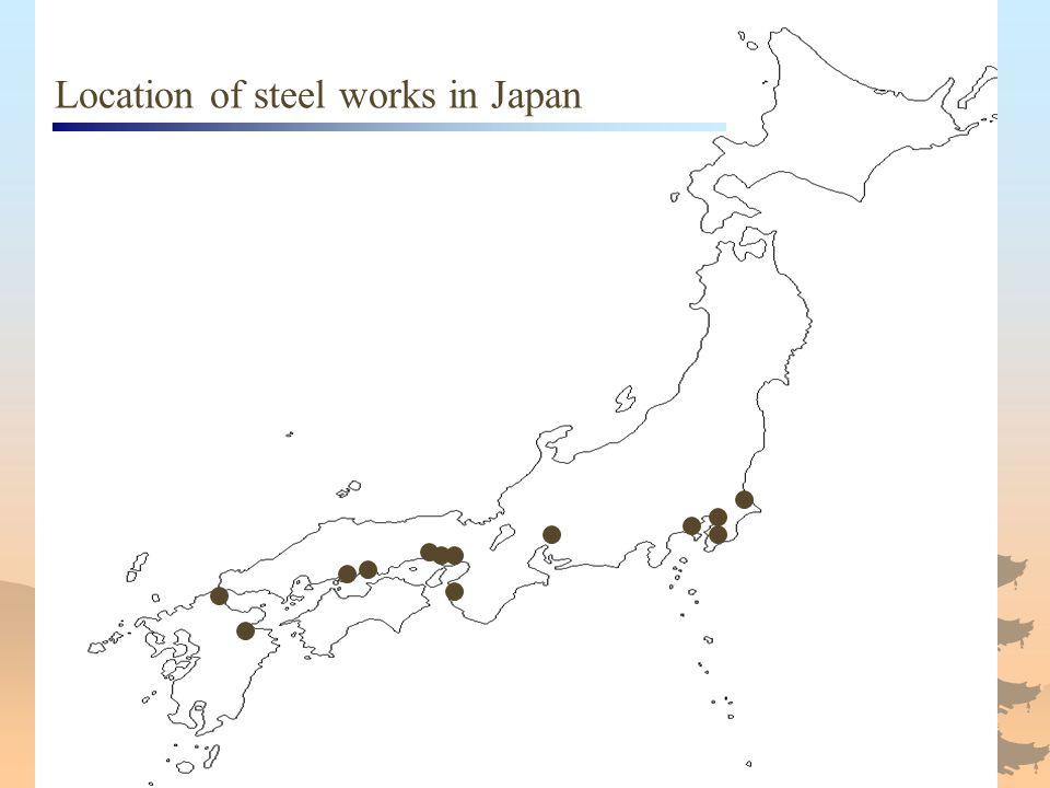 Location of steel works in Japan
