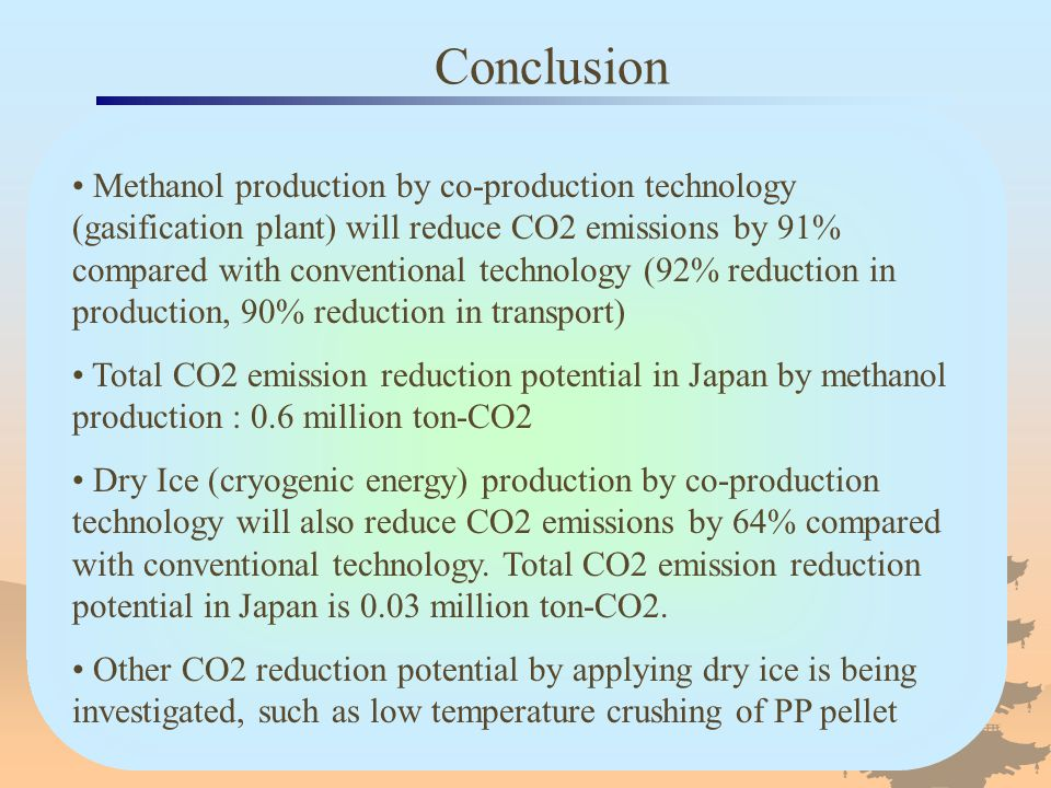 Conclusion Methanol production by co-production technology (gasification plant) will reduce CO2 emissions by 91% compared with conventional technology