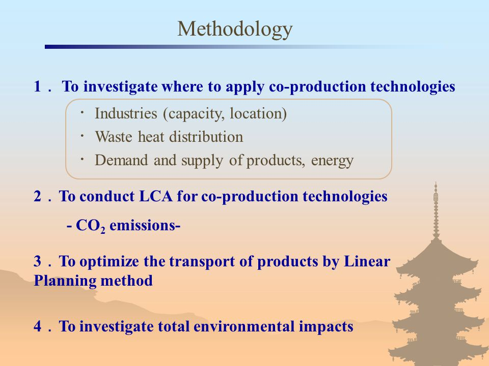 Methodology ・ Industries (capacity, location) ・ Waste heat distribution ・ Demand and supply of products, energy 2 . To conduct LCA for co-production t