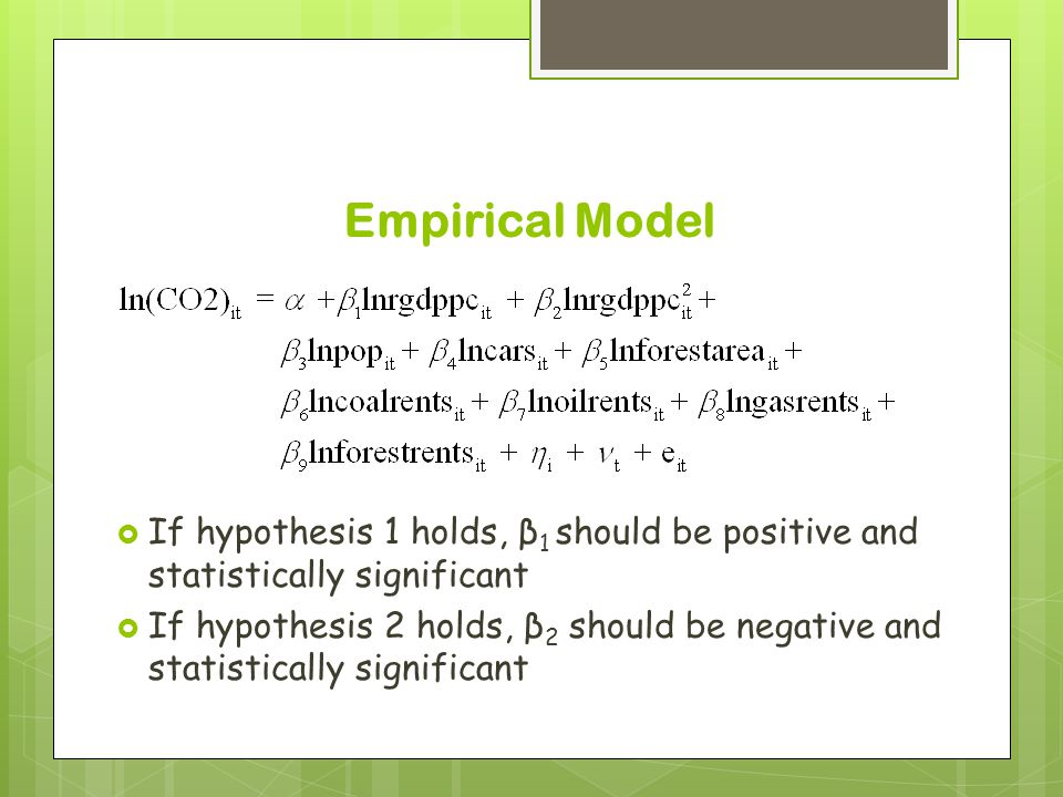 Empirical Model  If hypothesis 1 holds, β 1 should be positive and statistically significant  If hypothesis 2 holds, β 2 should be negative and statistically significant
