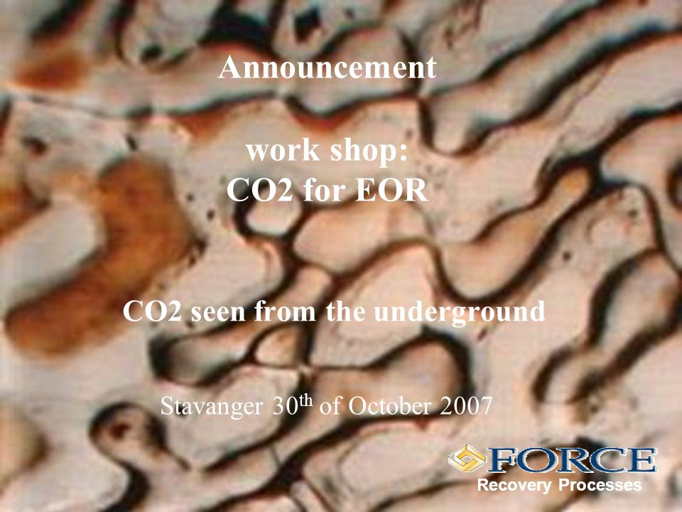 Announcement work shop: CO2 for EOR CO2 seen from the underground Recovery Processes Stavanger 30 th of October 2007