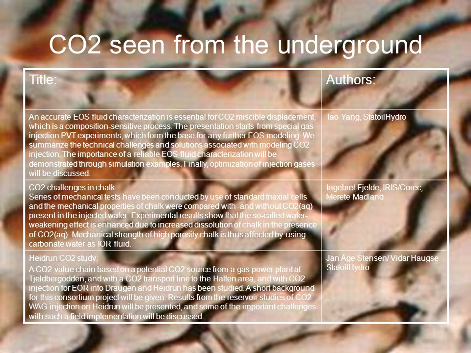 CO2 seen from the underground Title:Authors: An accurate EOS fluid characterization is essential for CO2 miscible displacement, which is a composition-sensitive process.