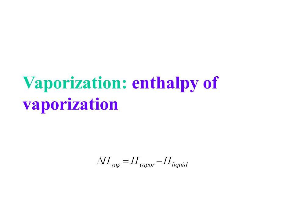 Vaporization: enthalpy of vaporization