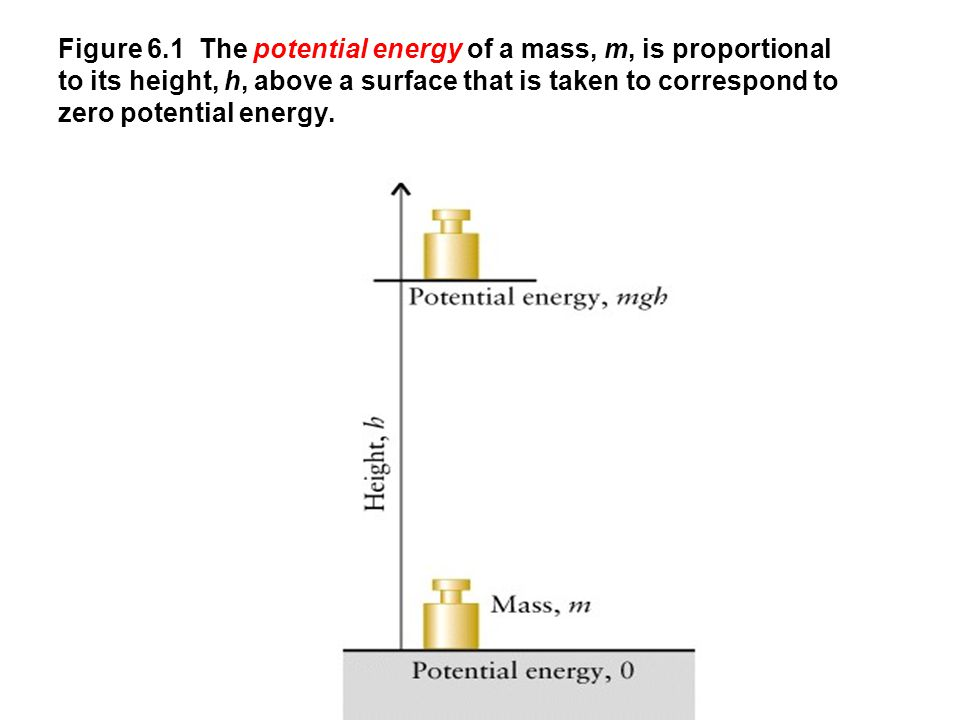 Figure 6.1 The potential energy of a mass, m, is proportional to its height, h, above a surface that is taken to correspond to zero potential energy.