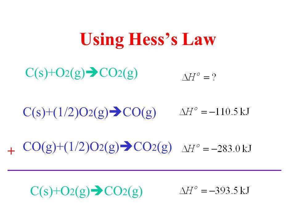 Using Hess's Law C(s)+O 2 (g)  CO 2 (g) C(s)+(1/2)O 2 (g)  CO(g) CO(g)+(1/2)O 2 (g)  CO 2 (g) + C(s)+O 2 (g)  CO 2 (g)