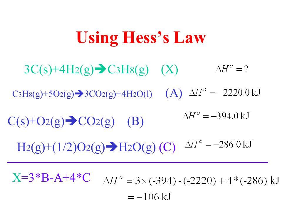Using Hess's Law 3C(s)+4H 2 (g)  C 3 H 8 (g) (X) C 3 H 8 (g)+5O 2 (g)  3CO 2 (g)+4H 2 O(l) (A) C(s)+O 2 (g)  CO 2 (g) (B) H 2 (g)+(1/2)O 2 (g)  H