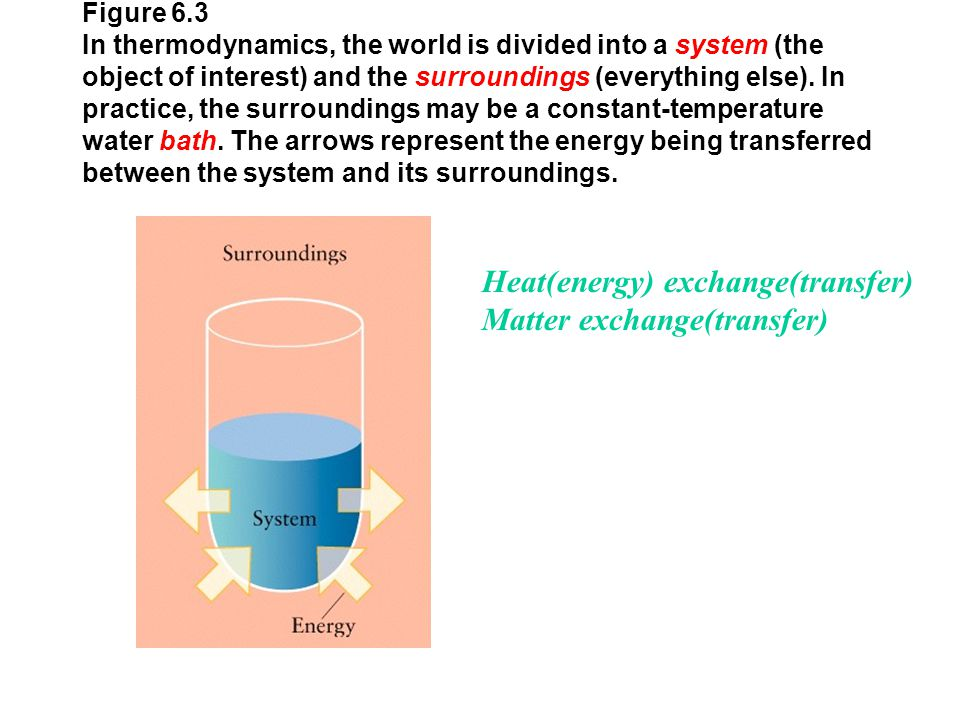 Figure 6.3 In thermodynamics, the world is divided into a system (the object of interest) and the surroundings (everything else). In practice, the sur