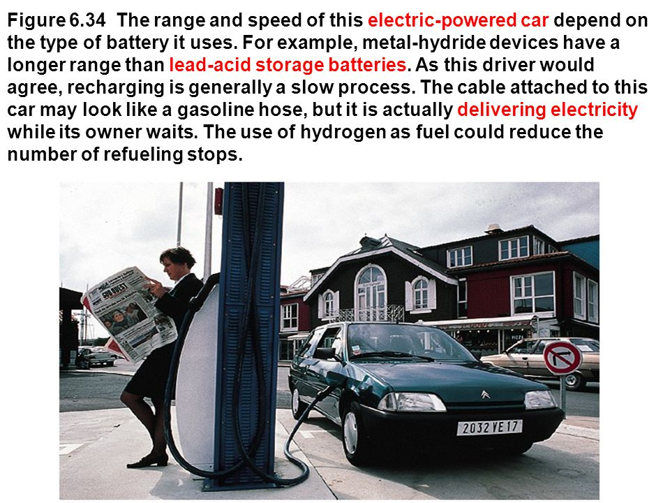 Figure 6.34 The range and speed of this electric-powered car depend on the type of battery it uses. For example, metal-hydride devices have a longer r