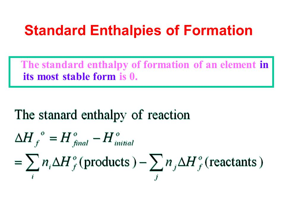 Standard Enthalpies of Formation The standard enthalpy of formation of an element in its most stable form is 0.