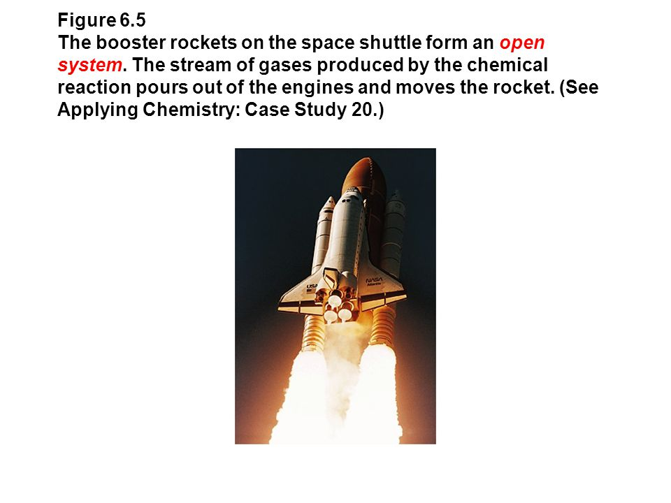 Figure 6.5 The booster rockets on the space shuttle form an open system. The stream of gases produced by the chemical reaction pours out of the engine