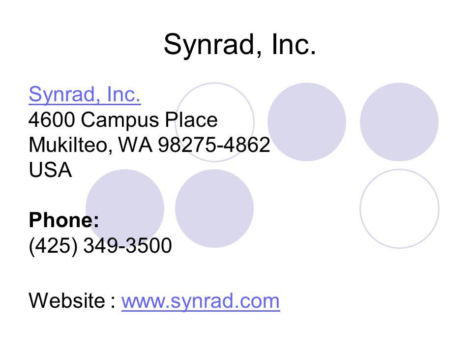 Synrad, Inc. Synrad, Inc. 4600 Campus Place Mukilteo, WA 98275-4862 USA Phone: (425) 349-3500 Website : www.synrad.comwww.synrad.com