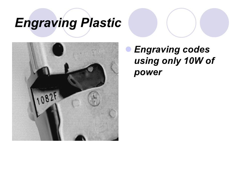 Engraving Plastic Engraving codes using only 10W of power