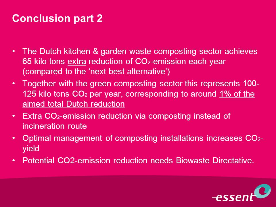Conclusion part 2 The Dutch kitchen & garden waste composting sector achieves 65 kilo tons extra reduction of CO 2 -emission each year (compared to the 'next best alternative') Together with the green composting sector this represents 100- 125 kilo tons CO 2 per year, corresponding to around 1% of the aimed total Dutch reduction Extra CO 2 -emission reduction via composting instead of incineration route Optimal management of composting installations increases CO 2 - yield Potential CO2-emission reduction needs Biowaste Directative.