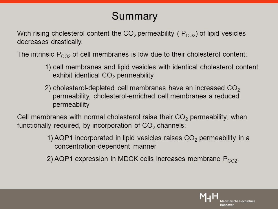 Summary With rising cholesterol content the CO 2 permeability ( P CO2 ) of lipid vesicles decreases drastically.