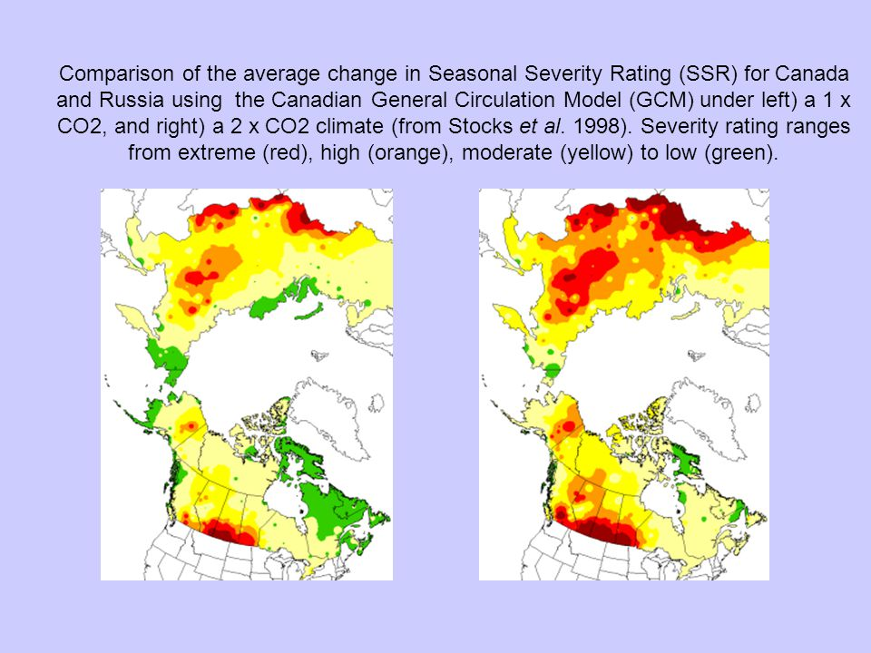 Comparison of the average change in Seasonal Severity Rating (SSR) for Canada and Russia using the Canadian General Circulation Model (GCM) under left) a 1 x CO2, and right) a 2 x CO2 climate (from Stocks et al.