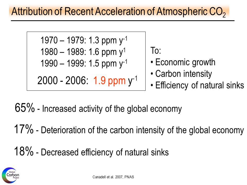 65% - Increased activity of the global economy Canadell et al.