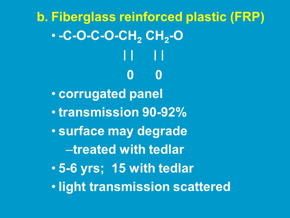 c.Acrylic profiled sheet transmission 80% Energy savings: 40% over 1 layer glass Strong structure Expensive