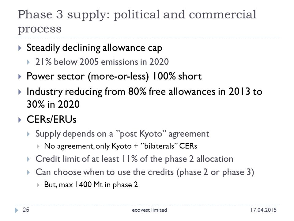 Phase 3 supply: political and commercial process 25  Steadily declining allowance cap  21% below 2005 emissions in 2020  Power sector (more-or-less