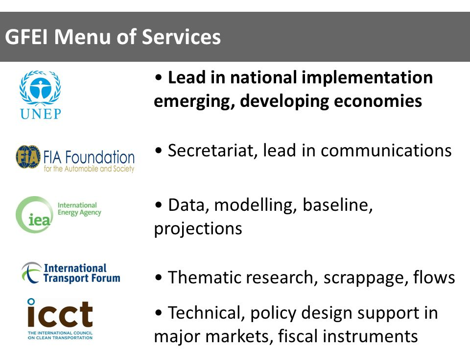 GFEI Menu of Services Lead in national implementation emerging, developing economies Secretariat, lead in communications Data, modelling, baseline, projections Thematic research, scrappage, flows Technical, policy design support in major markets, fiscal instruments