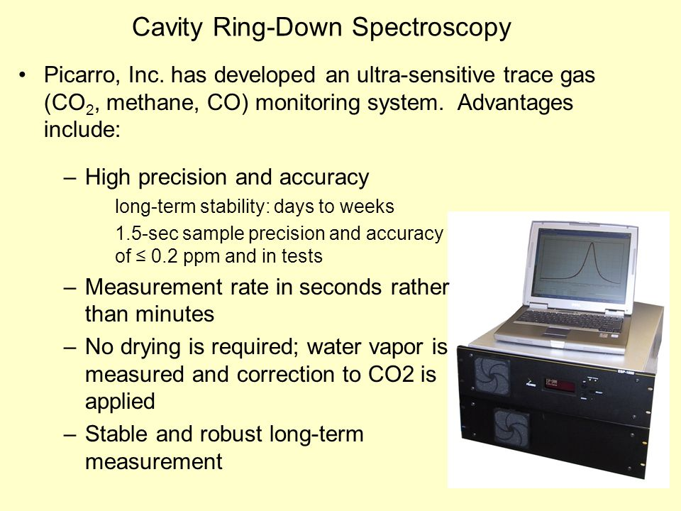 Picarro, Inc. has developed an ultra-sensitive trace gas (CO 2, methane, CO) monitoring system. Advantages include: Cavity Ring-Down Spectroscopy –Hig
