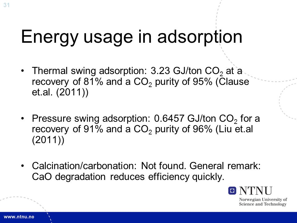 31 Energy usage in adsorption Thermal swing adsorption: 3.23 GJ/ton CO 2 at a recovery of 81% and a CO 2 purity of 95% (Clause et.al.