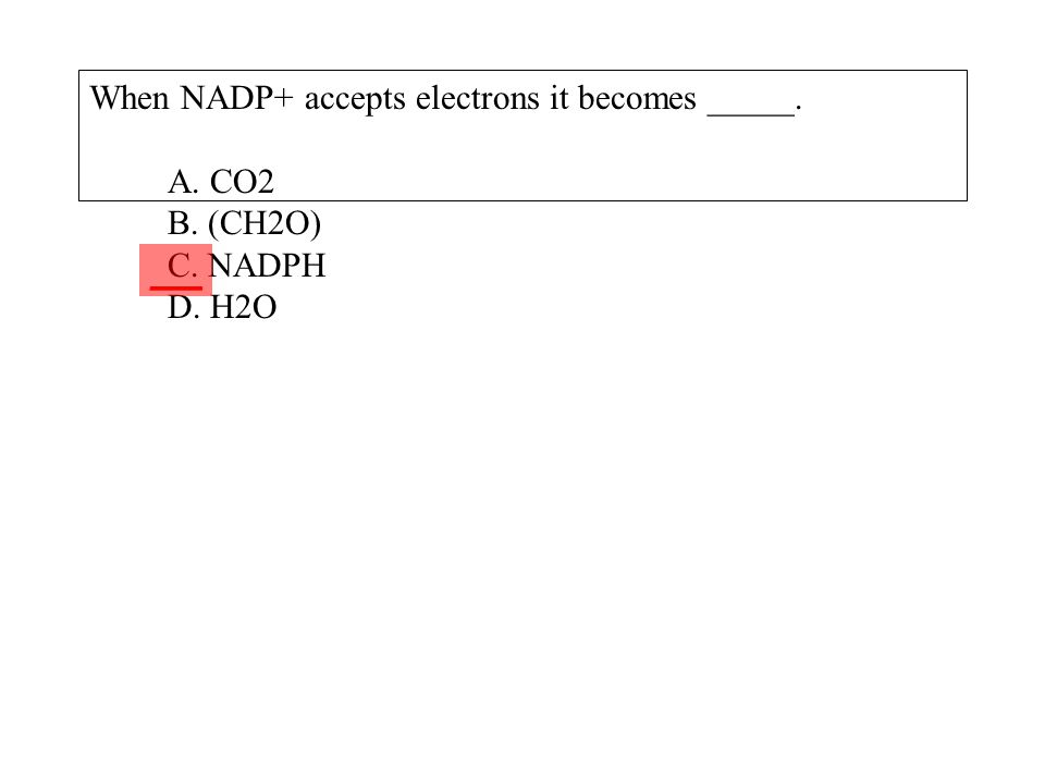 When NADP+ accepts electrons it becomes _____. A. CO2 B. (CH2O) C. NADPH D. H2O ___