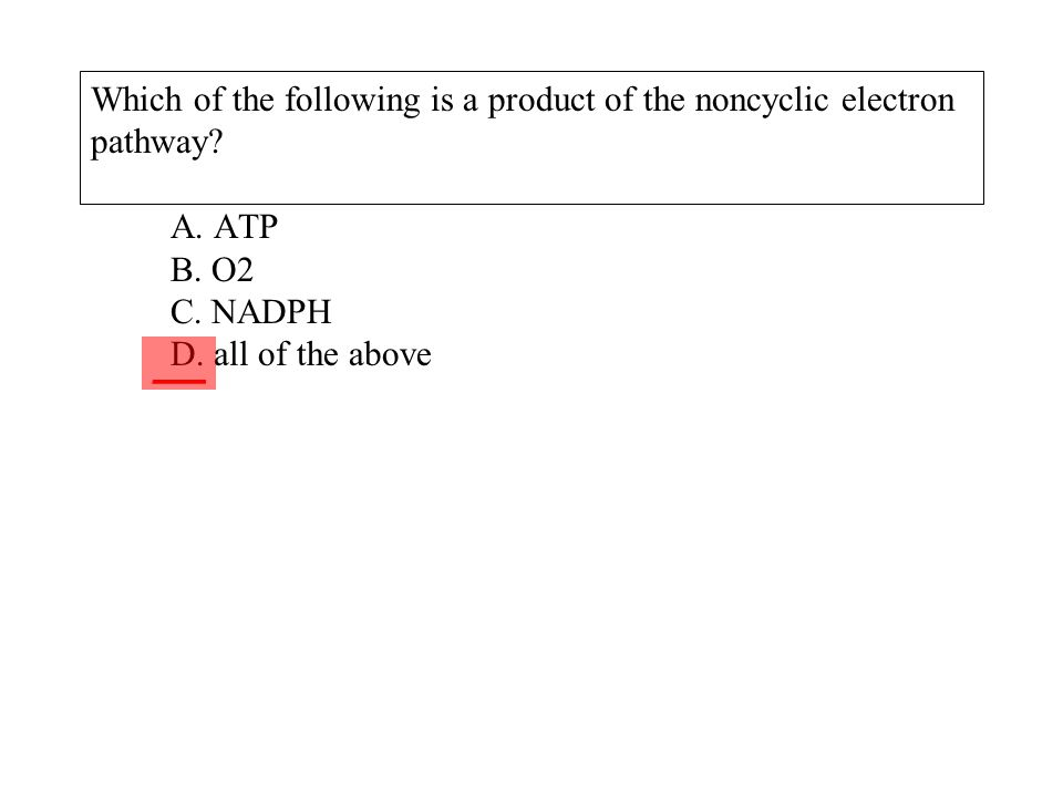 Which of the following is a product of the noncyclic electron pathway? A. ATP B. O2 C. NADPH D. all of the above ___