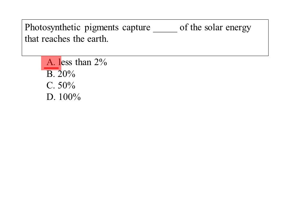 Photosynthetic pigments capture _____ of the solar energy that reaches the earth. A. less than 2% B. 20% C. 50% D. 100% ___