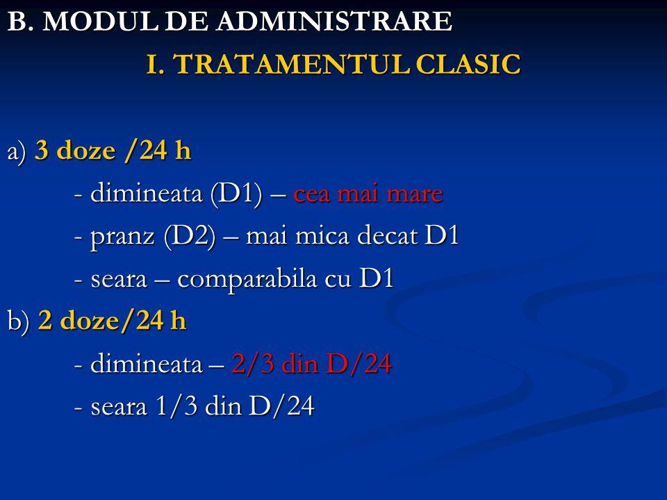B. MODUL DE ADMINISTRARE I. TRATAMENTUL CLASIC a) 3 doze /24 h - dimineata (D1) – cea mai mare - pranz (D2) – mai mica decat D1 - seara – comparabila