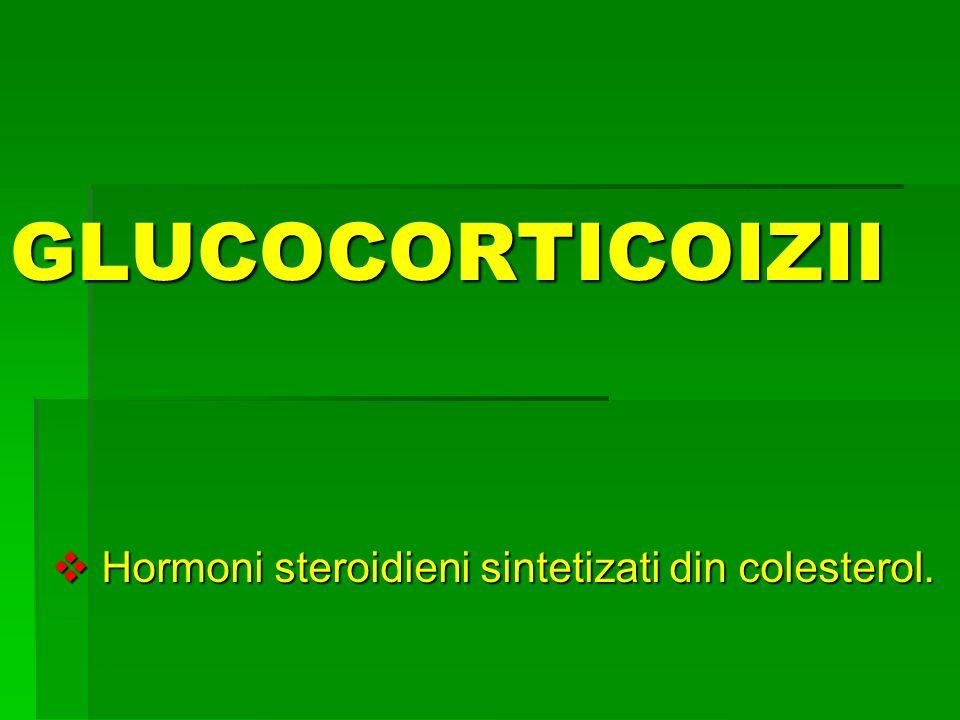 GLUCOCORTICOIZII  Hormoni steroidieni sintetizati din colesterol.