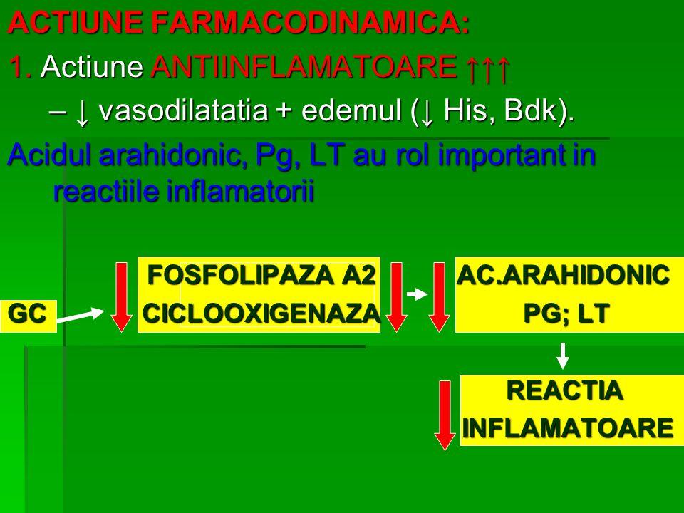 ACTIUNE FARMACODINAMICA: 1. Actiune ANTIINFLAMATOARE ↑↑↑ – ↓ vasodilatatia + edemul (↓ His, Bdk). – ↓ vasodilatatia + edemul (↓ His, Bdk). Acidul arah