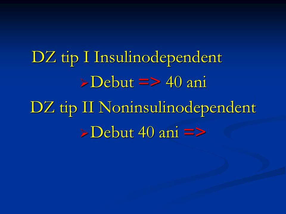 DZ tip I Insulinodependent  Debut => 40 ani DZ tip II Noninsulinodependent  Debut 40 ani =>