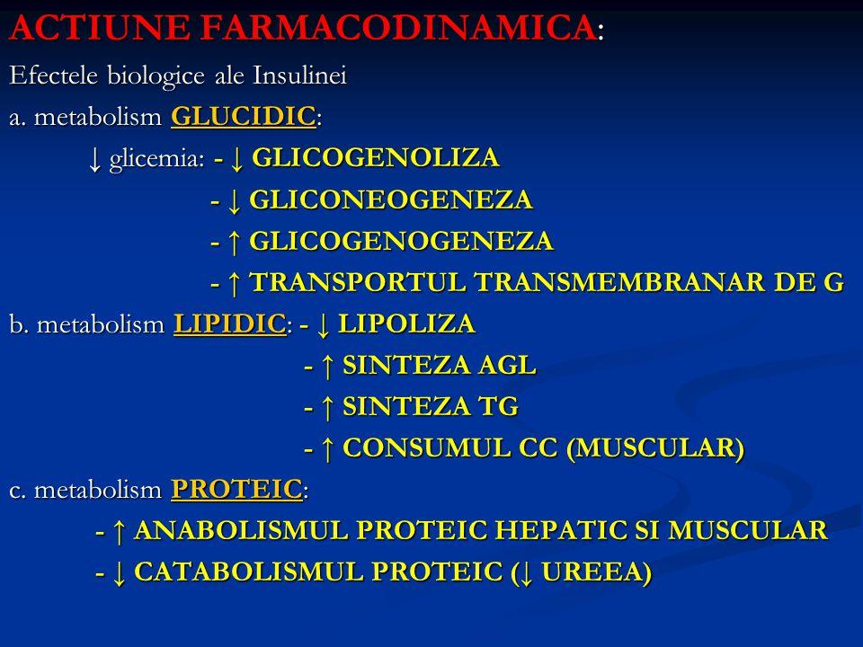 ACTIUNE FARMACODINAMICA: Efectele biologice ale Insulinei a. metabolism GLUCIDIC: ↓ glicemia: - ↓ GLICOGENOLIZA ↓ glicemia: - ↓ GLICOGENOLIZA - ↓ GLIC