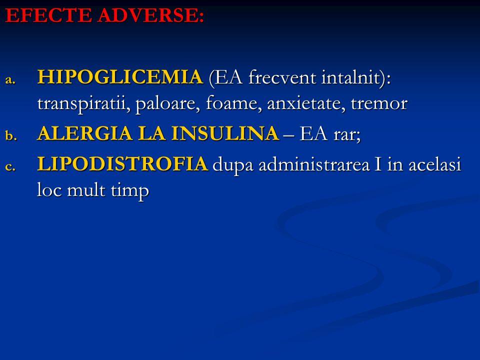 EFECTE ADVERSE: a. HIPOGLICEMIA (EA frecvent intalnit): transpiratii, paloare, foame, anxietate, tremor b. ALERGIA LA INSULINA – EA rar; c. LIPODISTRO