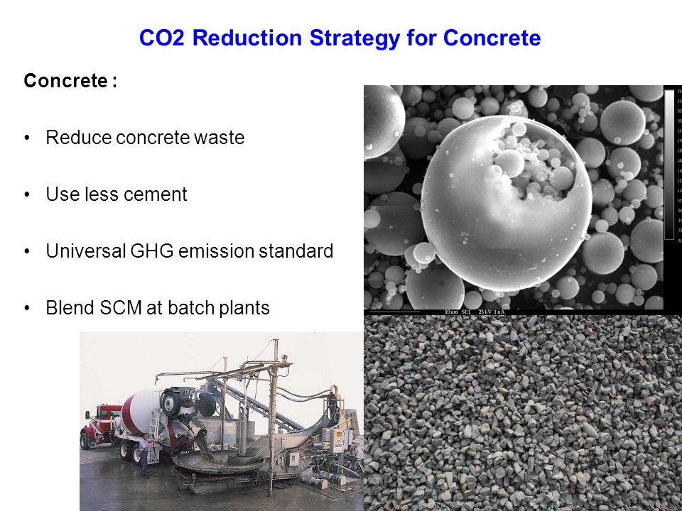 Concrete : Reduce concrete waste Use less cement Universal GHG emission standard Blend SCM at batch plants CO2 Reduction Strategy for Concrete
