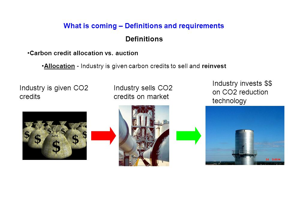 Definitions Carbon credit allocation vs.