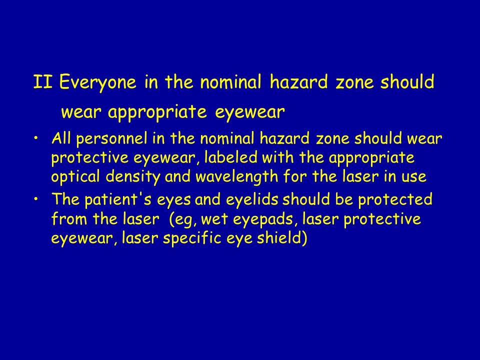 II Everyone in the nominal hazard zone should wear appropriate eyewear All personnel in the nominal hazard zone should wear protective eyewear, labele