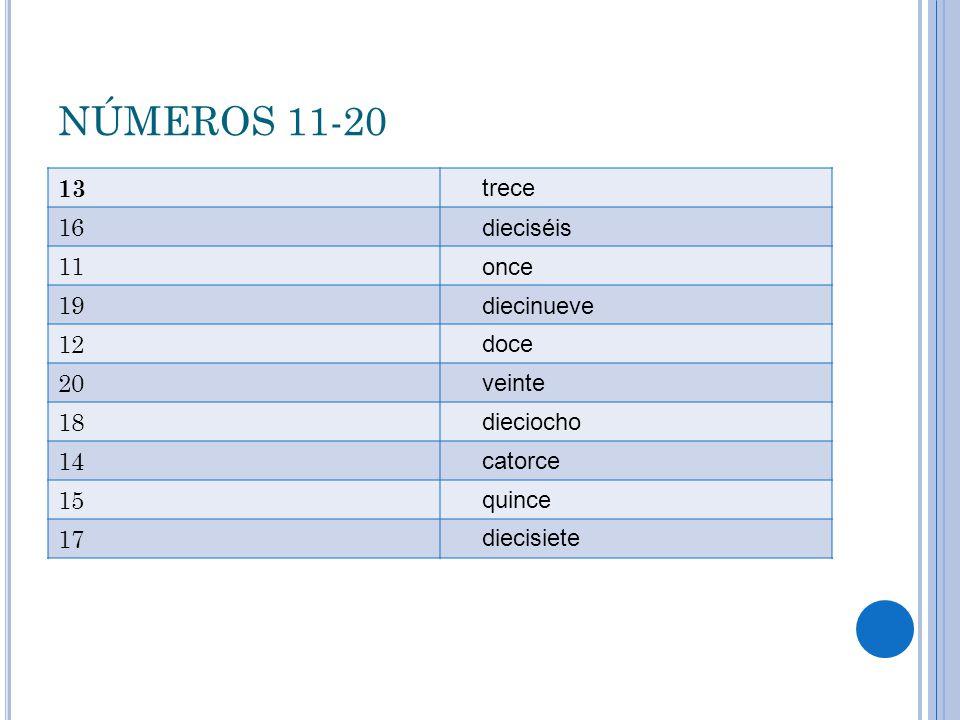 NÚMEROS 11-20 13 16 11 19 12 20 18 14 15 17 trece dieciséis once diecinueve doce veinte dieciocho catorce quince diecisiete