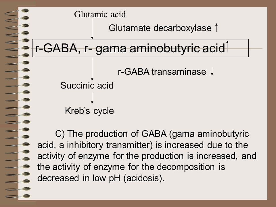Glutamic acid Glutamate decarboxylase gama r-GABA, r- gama aminobutyric acid r-GABA transaminase Succinic acid Kreb's cycle C) The production of GABA (gama aminobutyric acid, a inhibitory transmitter) is increased due to the activity of enzyme for the production is increased, and the activity of enzyme for the decomposition is decreased in low pH (acidosis).
