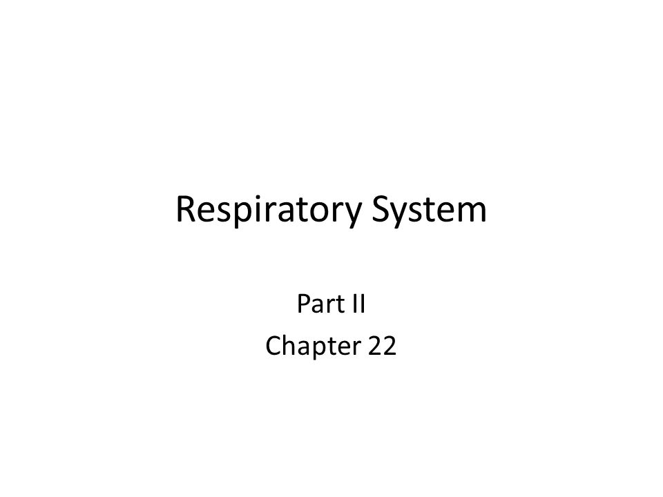 Respiratory System Part II Chapter 22