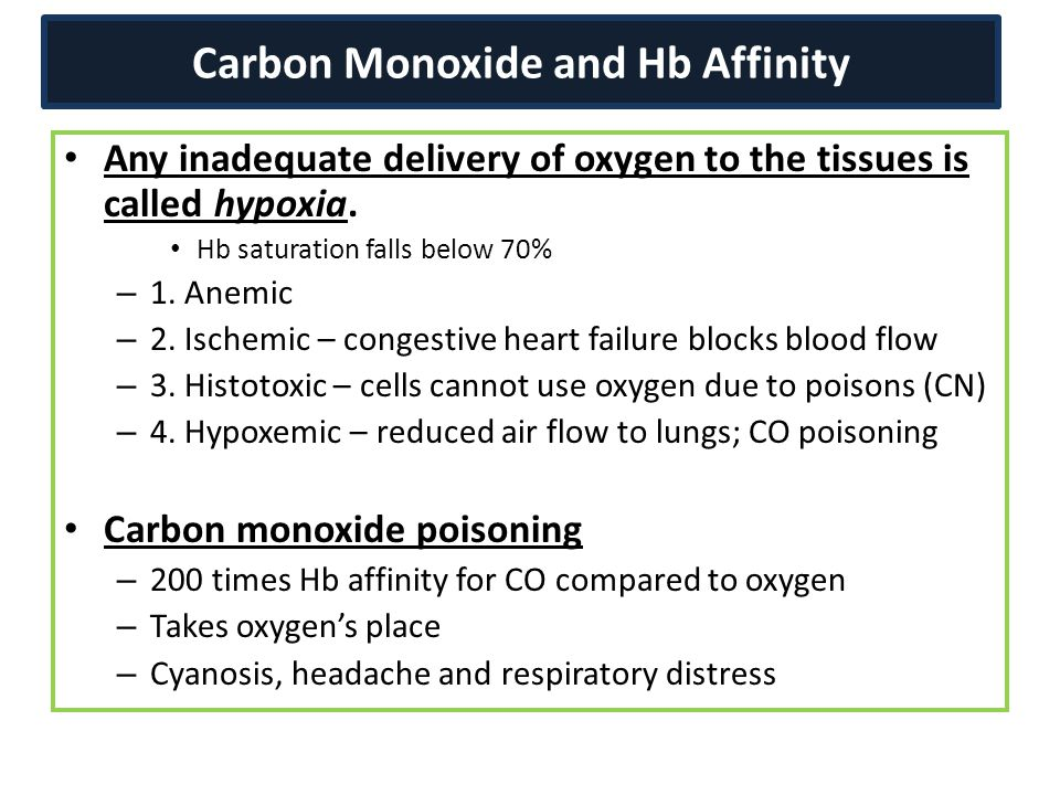Carbon Monoxide and Hb Affinity Any inadequate delivery of oxygen to the tissues is called hypoxia. Hb saturation falls below 70% – 1. Anemic – 2. Isc