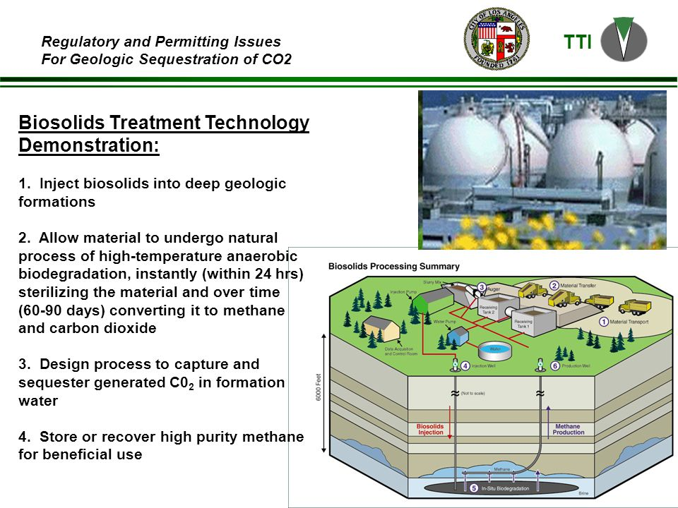 TTI Regulatory and Permitting Issues For Geologic Sequestration of CO2 Biosolids Treatment Technology Demonstration: 1.