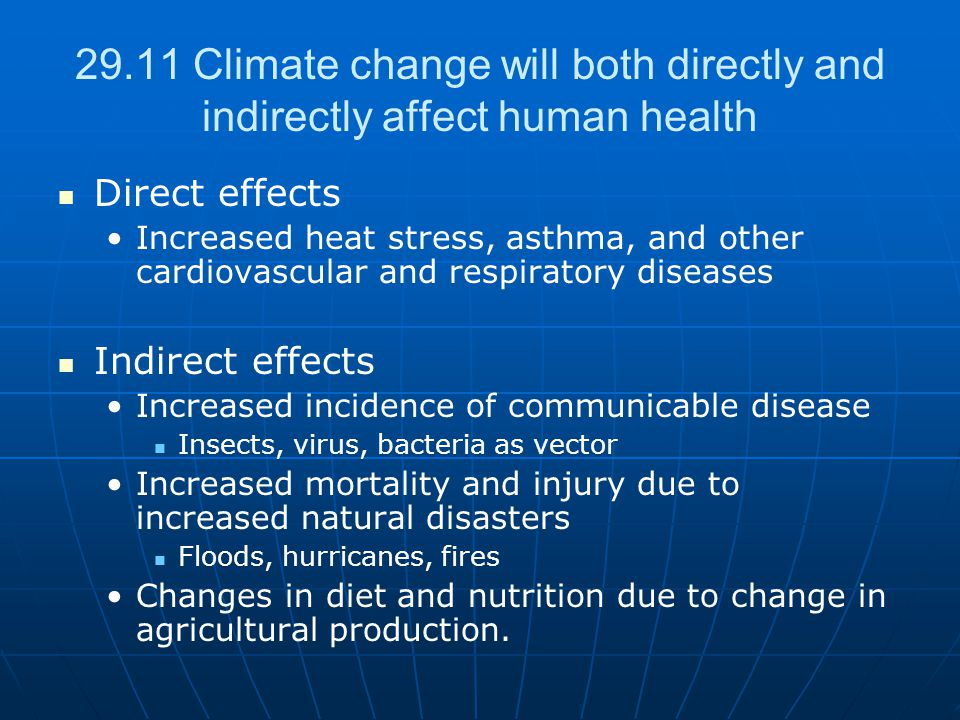 29.11 Climate change will both directly and indirectly affect human health Direct effects Increased heat stress, asthma, and other cardiovascular and