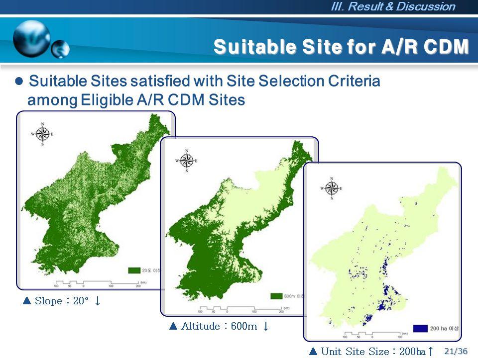 21/36 Suitable Site for A/R CDM ▲ Unit Site Size : 200㏊↑ ▲ Slope : 20° ↓ ▲ Altitude : 600m ↓ Suitable Sites satisfied with Site Selection Criteria amo