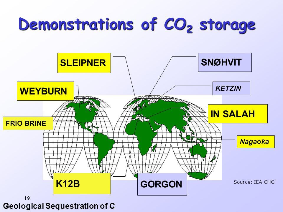 Geological Sequestration of C 19 Demonstrations of CO 2 storage SLEIPNER SNØHVIT WEYBURN IN SALAH GORGON K12B Source: IEA GHG FRIO BRINE KETZIN Nagaoka