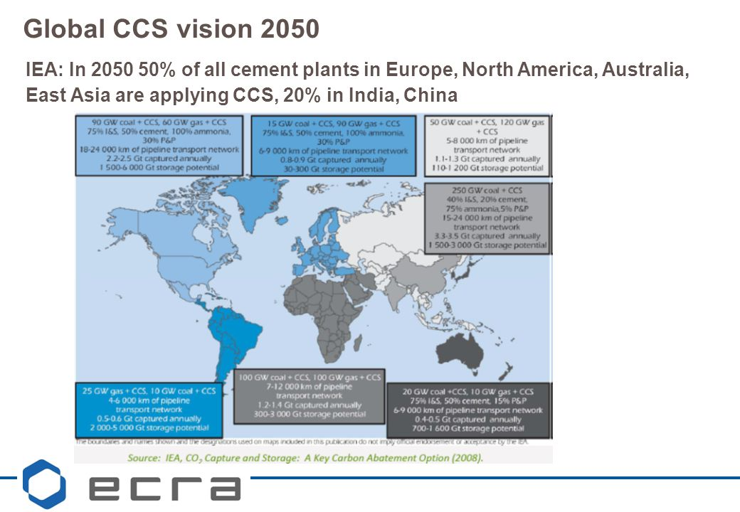 Global CCS vision 2050 IEA: In 2050 50% of all cement plants in Europe, North America, Australia, East Asia are applying CCS, 20% in India, China