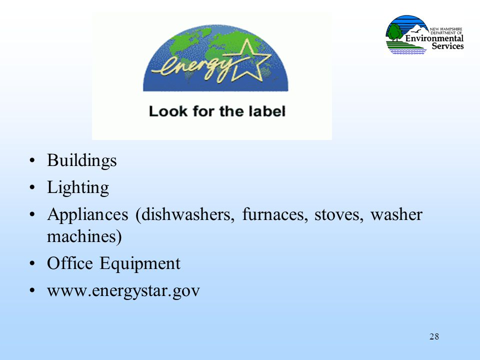 28 Buildings Lighting Appliances (dishwashers, furnaces, stoves, washer machines) Office Equipment www.energystar.gov