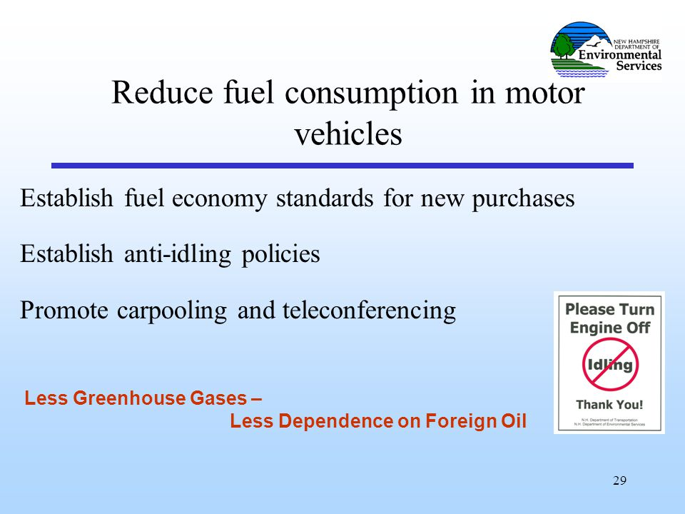 29 Reduce fuel consumption in motor vehicles Establish fuel economy standards for new purchases Establish anti-idling policies Promote carpooling and teleconferencing Less Greenhouse Gases – Less Dependence on Foreign Oil